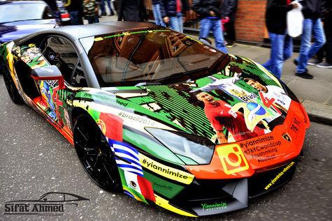 Modifikasi Lamborghini Aventador motif bola1